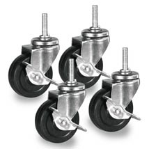 3 In. Rubber Swivel Casters,  3/8 In. X 1 1/2 Threaded Stem - Set Of 4