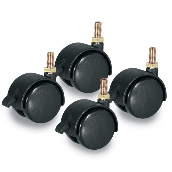 2 In. Dual Plastic Swivel Casters, 3/8 In. X 3/4 In Threaded Stem - Set Of 4