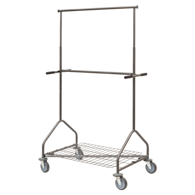 Adjustable Height Double Rail Rolling Garment Rack 5Ft Grey