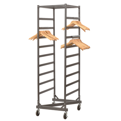 Grey Mobile Cart Hanger Organizer Rack With Wheels