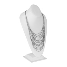 Tall Standing Bust NECKLACE Display - White Leatherette