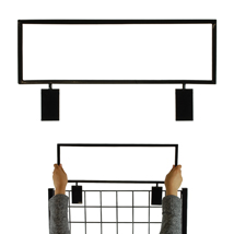 22 In. X 7 In. Sign Holder For Grid Displays - Black