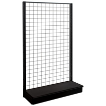 84 In. H Black Matte Single Sided Gondola Starter Display With Grid Back