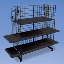 Wire Grid Floor Display with Shelves and Hooks