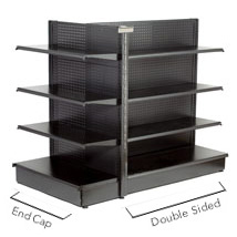 Black Matte Gondola End Cap With Pegboard