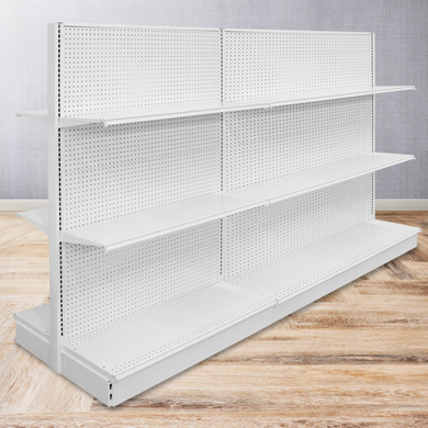 72 In. H Pearl White Double Sided Gondola Shelving Add-On Display