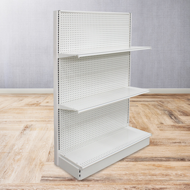 Pearl White Gondola Shelving End Cap Display - 16 In. Base X 72 In. High