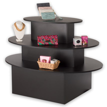 Black 3-Tier Oval Display Table