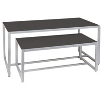 Black Laminate Wood And Metal Display Tables