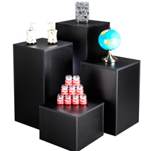 Black Laminate Pedestal Display Set of 4 with 15 Inch Top