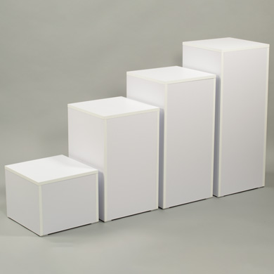 White Laminate Display Pedestal - 12 In. High
