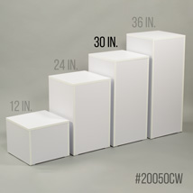 White Laminate Pedestal Display - 30 in. High