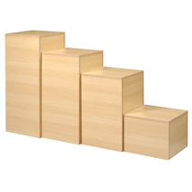 Maple Laminated Wood Display Pedestal Set