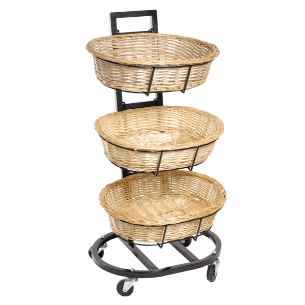 Oval 3-Tier Wicker Basket Display