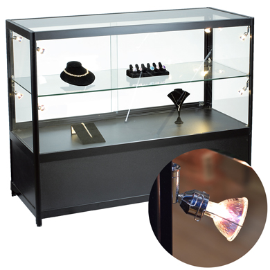 Assembled Display Case With 8 Halogen Lights & Locking Storage