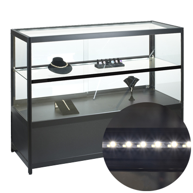 Lighted Glass Display Case with LED Light Strips - Fully Assembled