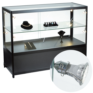 Glass Display Case With Led Spotlights & Locking Storage - Fully Assembled