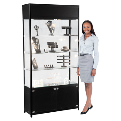 Three Shelf Assembled Black Tower Display Case With Six Halogen Lights