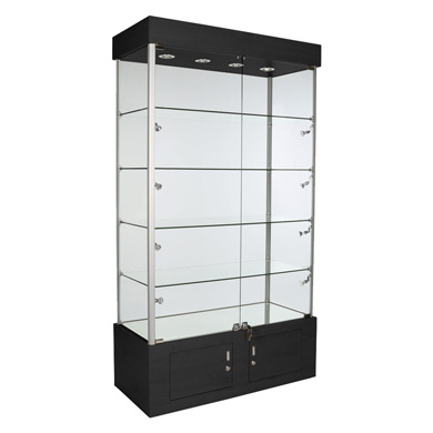 Assembled All Glass Tower Display Case With Shelves & 12 Halogen Lights - Black