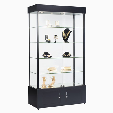 Assembled 4 Shelf Tower Display Case With Low-Profile Led Lights - Black