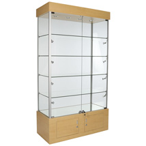 Assembled 4 Shelf Glass Display Trophy Case - 12 Halogen Lights - Maple