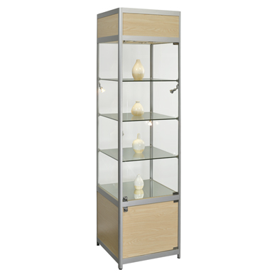 Fully Assembled Tower Display Case With Halogen Lights - Maple