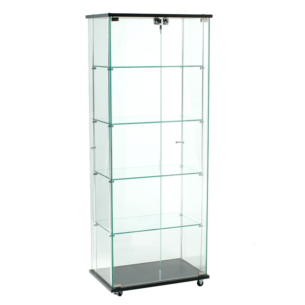 Frameless Glass Tower Display Case- 24 In. Wide X 62 In. High