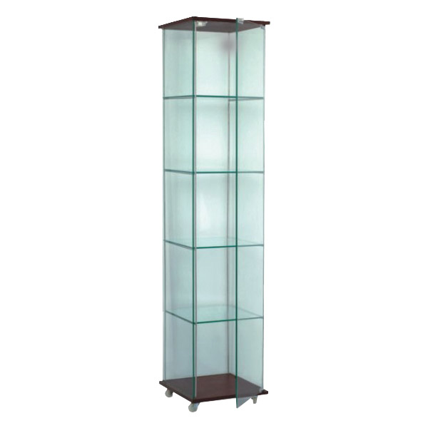 Frameless Glass Tower Display Case - 15.75 X 62 Inches High