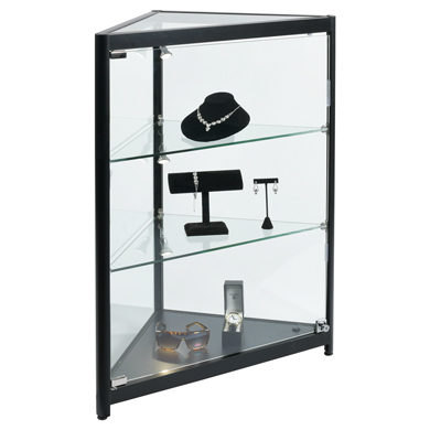 Fully Assembled Corner Display Case With Led Spotlights