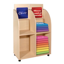 Mobile Wood Display in Cherry for Newspapers and Sweatshirts
