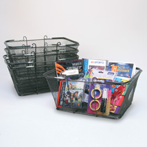 Black Mesh Shopping Baskets Set of 12