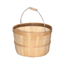1-Peck Natural Wood Basket Farm Display