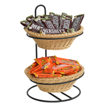 2 Tier Round Plastic Wicker Baskets Tabletop Display Stand