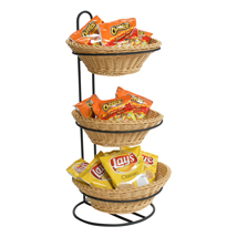 3 Tier Round Plastic Wicker Baskets Tabletop Display Stand