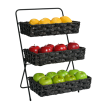 Black 3 Tier Plastic Wicker Basket Tabletop Display Stand