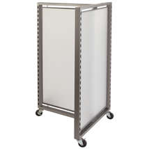 Di Simo T Display With Frosted Panels And Casters