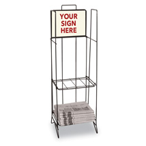Metal NEWspaper Display Rack with Two Shelves