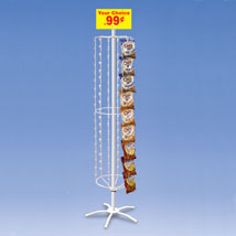 Clipping Strip Floor Spinner Rack With 108 Clips - White