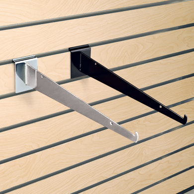 "Black 12"" Shelf Bracket for Slatwall"