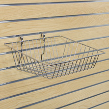 Chrome Wire Basket For Slatwall - 15 In. W X 12 In. D X 3 - 6 In. H