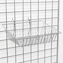 Chrome Gridwall Basket 15 In. W X 12 In. D X 3 - 6 In. H