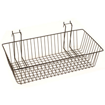 24 In. W X 12 In. D  X 4 In. H Black Slatwall Basket