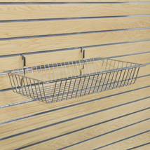 Chrome Wire Basket For Slatwall - 24 In. W X 12 In. D X 4 In. H