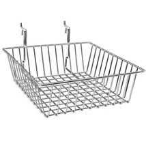 Chrome Gridwall Basket - 12 In. W x 12 In. D x 4 In. H