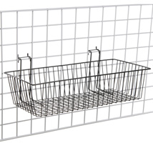 24 In. W X 12 In. D X 6 In. H Black Gridwall Basket