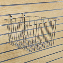 Chrome Slatwall Basket 12 In W X 12 In D X 8 In H