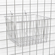Chrome Gridwall Basket 12 In W X 12 In D X 8 In H