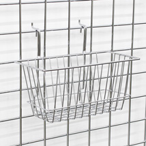 Chrome Gridwall Basket 12 in W x 6 in D x 6 in H