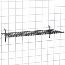 Black Heavy Duty Grid Wall Shelf - 9 in. W x 23 1/2  in. L