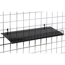 Black Gridwall Solid Shelf with Lip - 24 in. W x 10 in. D